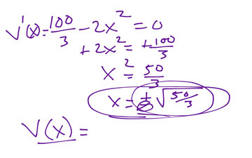 Calculus Optimization of Volume