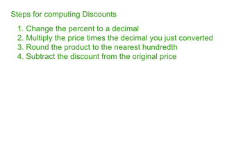 Computing Discounts Step Up To 6th Grade