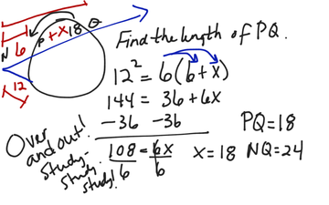 Chapter 10.6 Example Problem Length Of Tangent & Secant