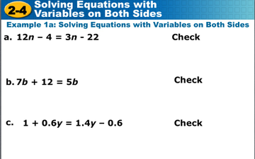 Solving Equations W/Variables On Both Sides - Lessons - Tes Teach