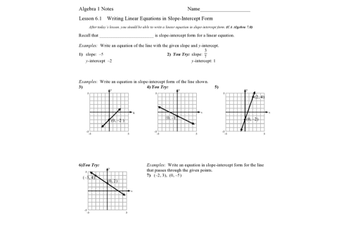 slope intercept form lesson  Graphing Lines Using Slope Intercept - Lessons - Tes Teach